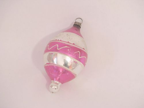 VP 347 - Pink Striped Teardrop Ornament