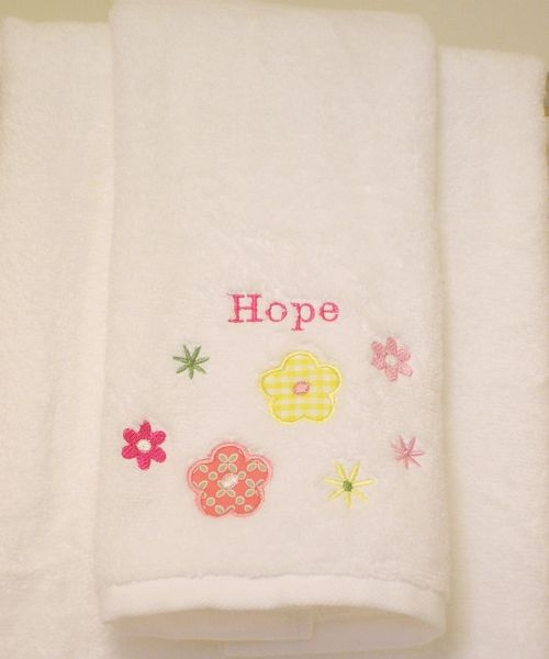 Personalized towel close up