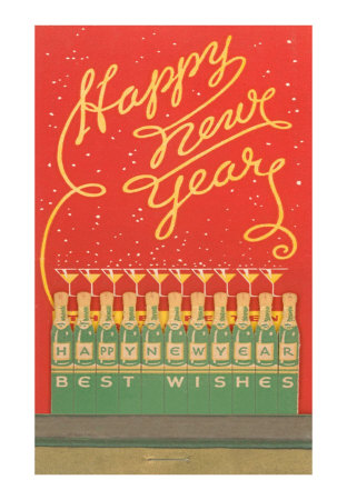 Happy-new-year-stylized-bottles-and-glasses