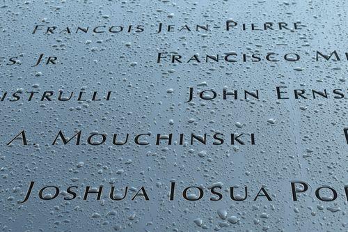 Names on 9 11 Memorial
