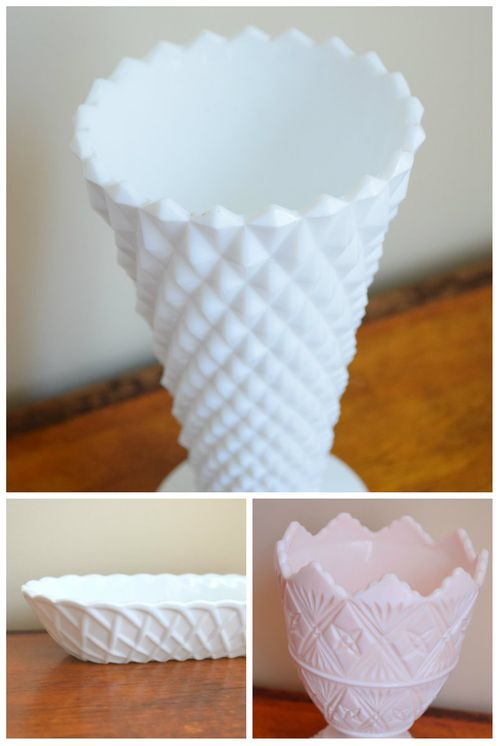 Milk glass collage - thevintagemercantile on etsy