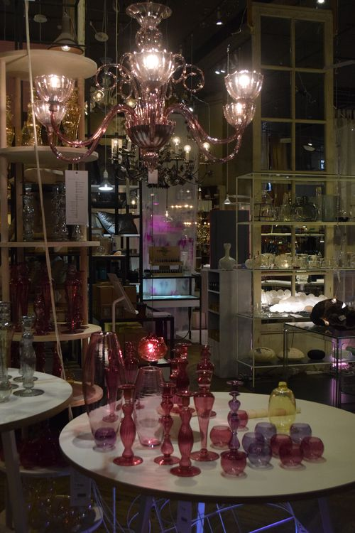 Pink Glass Display at ABC Home