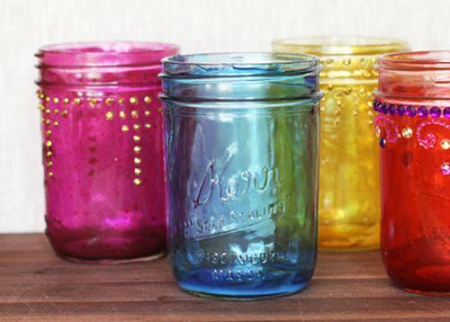 Close up colored mason jars