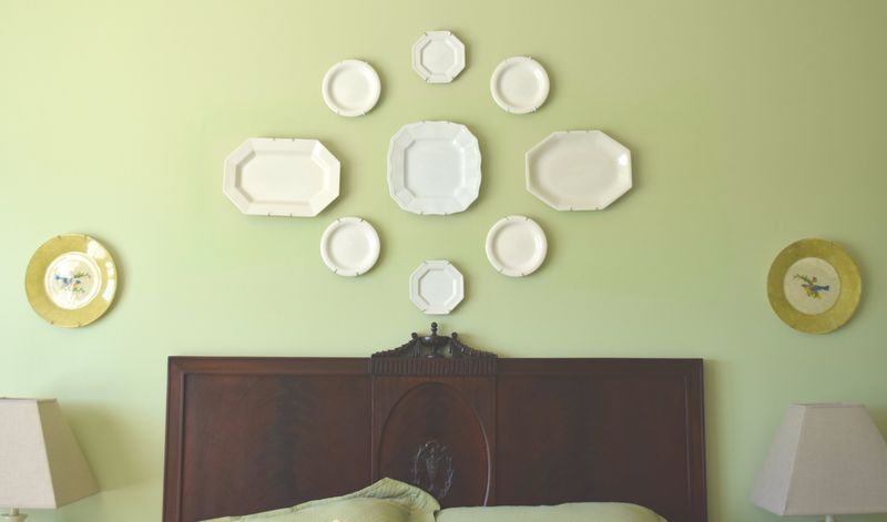 Plates above bed