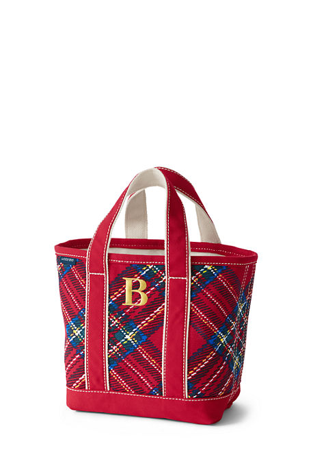 Lands End Plaid Tote