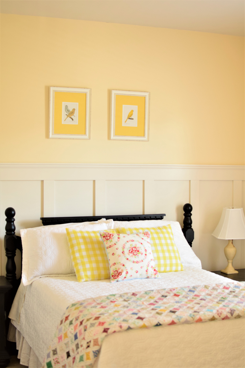 Pretty Yellow Guest Bedroom Board and Batten