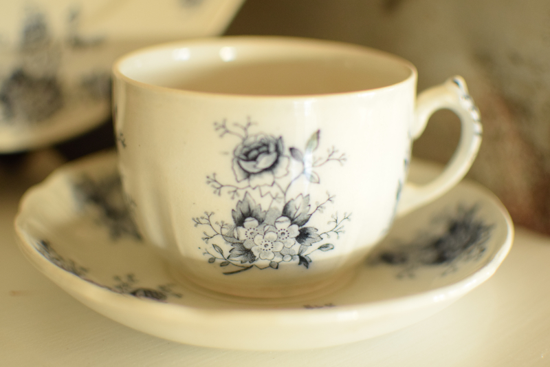 Black Antique Transferware Cup and Saucer