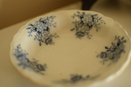 Black Antique Transferware Butter Pat