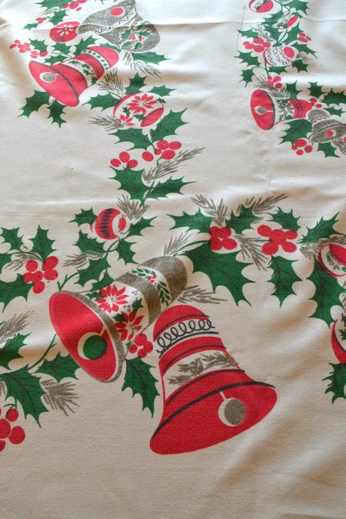 Bells and Holly Vintage Christmas Tablecloth