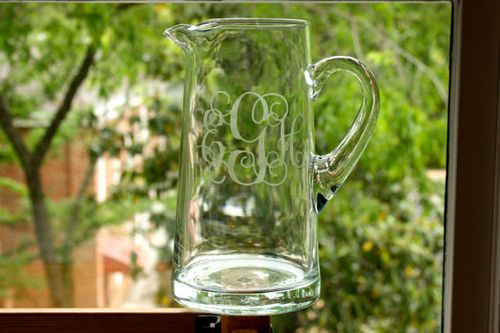 Etched glass pitcher