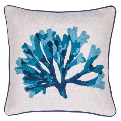 Coral Crewel Stitch Throw Pillow - Wayfair