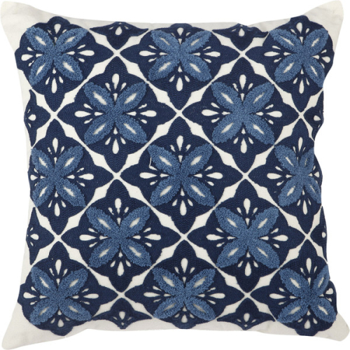 Embroidered Cotton Throw Pillow - Birch Lane