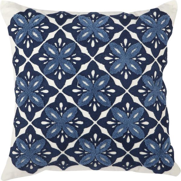 Embroidered Cotton Throw Pillow - Birch Lane