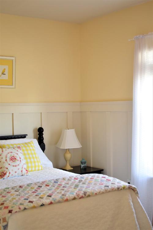 Yellow Guest Bedroom Board and Batten Quilt