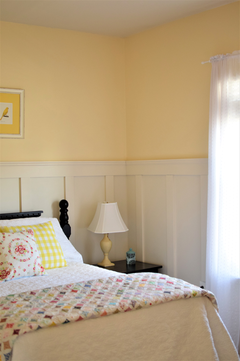 Yellow Guest Bedroom Board and Batten Quilt